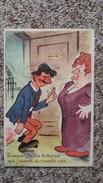 CPA COUPLE HUMOUR HOMME SAOUL GROSSE FEMME PUISQUE J TE DIS BOBONNE QUE J REVIENS DU MARCHE NOIR 1947 - Coppie