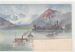 Regen Am Thunersee - Berggesichter  - Sign. Schlemo - 1898     (P-89-00924) - BE Berne