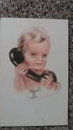 CPSM ENFANT BEBE AU TELEPHONE - Dessins D'enfants