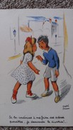 CPA PETIT COUPLE ENFANTS SI TU CONTINUES A MA FAIRE DES SCENES JE DEMANDE LE DIVORCE DESSIN ANDRE PENAC - Dessins D'enfants