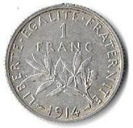 1 Franc Semeuse Argent 1914 - France