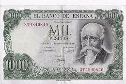Billet : ESPAGNE . MIL 1000 PESETAS . 17/09/1971 . SERIE N° 3T4840840 / TTBE - [ 3] 1936-1975 : Régimen De Franco