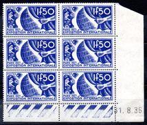 FRANCE - YT N° 327 Bloc De 6 Coin Daté - Neuf **/* - MNH/MH - Cote: 560,00 € - Lire Descriptif - - 1930-1939