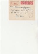 LETTRE RECOMMANDEE AFFRANCHIE N° 433 BANDE DE 3  - OBLITERATION : PETIT IVRY - SEINE  1941 - Marcophilie (Lettres)