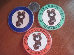 USSR Russia Moscow - 80 Olympics Mascot Misha The Bear - Badges