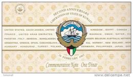 KUWAIT 1 DINAR 1993 P-CS1 POLYMER 2nd Liberation DAY UNC  WITH COMMEMORATIVE FOLDER */* - Kuwait