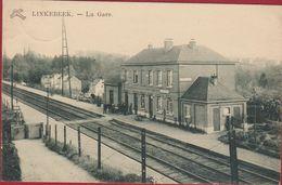 Linkebeek Station Statie La Gare (licht Kreukje) Timbre Postzegel Overdruk Obliteration - Linkebeek