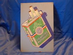 """Ancienne Plaque Métal """"CIGARETTES NATIONALES"""" - Tabac & Cigarettes"""