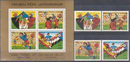 Soccer Football Yemen PDR #294/7 + Bl 5 Ovpt 1982 World Cup Spain MNH ** - Coupe Du Monde