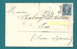 Paris - Etoile 26 - GARE DU NORD Pour Eu (Seine Inférieure). - Marcophilie (Lettres)