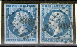 N° 14 Type 1° Sur Azuré + N° 14-Type 2°_cote 17.00 - 1853-1860 Napoleon III