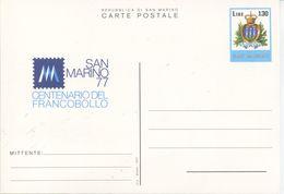 SAN MARINO - CARTOLINA POSTALE  1977 - CENTENARIO DEL FRANCOBOLLO LIRE 130 - Interi Postali