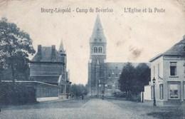 Leopoldsburg, Bourg Léopold, Camp De Beverloo, L'Eglise Et La Poste (pk39399) - Leopoldsburg (Kamp Van Beverloo)