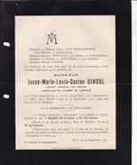 BRUXELLES SPA Josse GIHOUL Consul Du Libéria 1851-1911 Famille VAN HOEGAERDEN DRUGMAN D'EPSTEIN - Todesanzeige