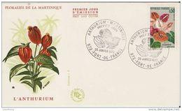 2- FRANCE  Yvert 1738 Anthurium Fleur Flower FLORALIES MARTINIQUE 1973 - Martinica (1886-1947)
