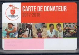 """CARTE DE DONATEUR RIGIDE """" ORDRE DE MALTE FRANCE """" Pour Ses 90 Ans Au Service Des Plus Fragiles Avec LOGO CROIX ROUGE - Organisaties"""