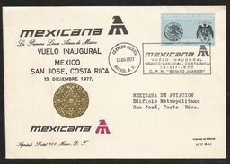 J) 1977 MEXICO, INAUGURAL FLIGHT, MEXICO-SAN JOSE, COSTA RICA, RESUMING DIPLOMATIC RELATIONS WITH SPAIN, EMBLEM AND SHIE - Mexico