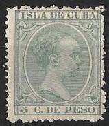Timbre De L' île De Cuba  1890     '    Yvert  N° 76  Neuf    '     Le Roi Alphonse XIII,  5 C. Vert-gris - Cuba (1874-1898)