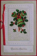 Cpa Livret CLOCHE CLOCHES NOEL , Houx , Paysage Neige, Ruban, 1913 , CHRISTMAS BELLS SNOW COUNTRY SILK RIBBON - Noël