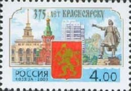 Russia 2003 375th Anniv Krasnoyarsk Geography Architecture Monument Building History Coat Of Arms Stamp MNH Michel 1093 - 1992-.... Federation