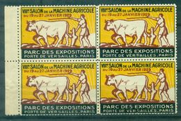 FRANCE. VIGNETTES  1929 Salon Machine Agricole , Attelage, Bloc De 4  Nxx TB. - Commemorative Labels