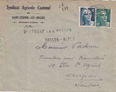 BASSES ALPES - ST ETIENNE-LES-ORGUES - RECOMMANDEE PROVISOIRE DU SYNDICAT AGRICOLE CANTONAL LE 3-11-45 (P1). - Postmark Collection (Covers)