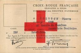 CARTE CROIX ROUGE FRANCAISE DELEGATION DU RHONE MR BOITTON PIERRE HOTEL DIEU A LYON - Santé