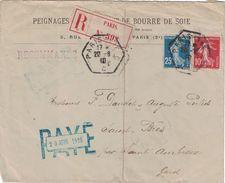 PARIS - RECETTE AUXILIAIRE DU 20-6-1910 - AFFRANCHISSEMENT SEMEUSE 35c -ENTETE PEIGNAGE FILATURE DE BOURRE DE SOIE (P1) - Postmark Collection (Covers)