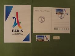 FRANCE 2017  PARIS VILLE HOTE DES JEUX OLYMPIQUES DE 2024  PREMIER JOUR  13 09 2017  F.D.C. + 1 TIMBRE NEUF - FDC