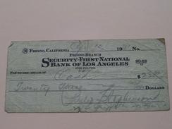 FRESNO Branch SECURITY-FIRST NATIONAL BANK Of LOS ANGELES Fulton ( Order ) Anno 1931 ( Zie Foto Details ) !! - Etats-Unis