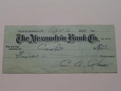 ALEXANDRIA O. -The ALEXANDRIA BANK C° ( Order ) Anno 1931 ( Zie Foto Details ) !! - Etats-Unis