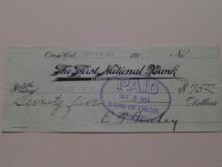 OROSI California -The FIRST NATIONAL BANK C° ( Order ) Anno 1911 ( Zie Foto Details ) !! - Verenigde Staten