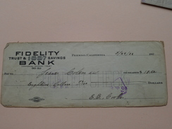 FRESNO California - FIDELITY Trust & Savings BANK ( Order ) Anno 1922 ( Zie Foto Details ) !! - United States