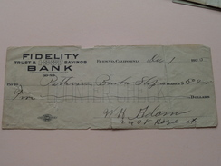 FRESNO California - FIDELITY Trust & Savings BANK ( Order ) Anno 1925 ( Zie Foto Details ) !! - Verenigde Staten