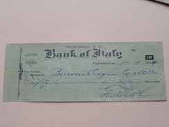 FRESNO California - BANK Of ITALY ( Order ) Fresno Branch - Anno 1924 ( Zie Foto Details ) !! - Verenigde Staten
