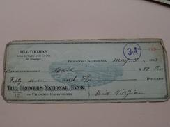 FRESNO California - The GROWERS National Bank ( Order ) BILL TIKIJIAN Real Estate - Anno 1923 ( Zie Foto Details ) !! - Etats-Unis