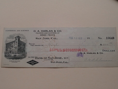 SAN JOSE California - Bank Of SAN JOSE ( Order ) O.A. HARLAN & C°  - Anno 1922 ( Zie Foto Details ) !! - United States