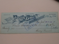 PACIFIC BANK San Francisco California ( Order ) Russ, Sanders .......Anno 1891 ( Zie Foto Details ) !! - United States