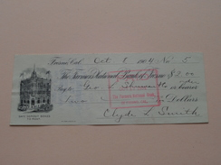 FRESNO Ca The FARMER'S NATIONAL BANK Of FRESNO ( Order ) Anno 1904 ( Zie Foto Details ) !! - USA