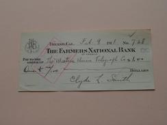 FRESNO Ca The FARMER'S NATIONAL BANK Of FRESNO ( Order ) Anno 1911 ( Zie Foto Details ) !! - USA