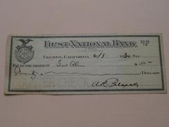 FRESNO Ca - FIRST NATIONAL BANK ( Order ) Anno 1930 ( Zie Foto Details ) !! - United States