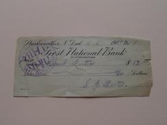 FIRST NATIONAL BANK Of STARKWEATHER N. Dak. ( Order ) Anno 1909 ( Zie Foto Details ) !! - United States