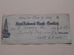 FIRST NATIONAL BANK Of FINDLAY Ohio ( Order ) Anno 1909 ( Zie Foto Details ) !! - Etats-Unis
