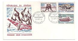 FDC SENEGAL -lutte -course De Chevaux Et De Pirogues 30/09/1961 - Senegal (1960-...)