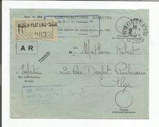 ALGERIE LETTRE EN FRANCHISE RECOMMANDEE DE ALGER PLATEU SAUL 1950 - Lettres & Documents