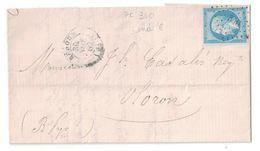 1860 - PEU COURANT PC 340 (BELLE FRAPPE) DE BEDOUS PYRÉNÉES Sur LETTRE LAC Pour OLORON AFFR. NAPOLEON N°14 TB - 1849-1876: Période Classique