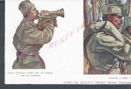 MILITARIA 14/18 COUPURE DE PRESSE TYPES DE SOLDATS SERBES REPRO AQUARELLES V. BETZITCH 2 PAGES : - 1914-18