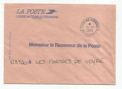 OBLITERATION MANUELLE SUR LETTRE DE SERVICE CAISSE NATIONALE D'EPARGNE CLERMONT FERRAND 1193 - Marcofilia (sobres)