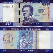 LIBERIA       10 Dollars       P-New       2016       UNC - Liberia