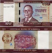 LIBERIA       20 Dollars       P-New       2016       UNC - Liberia